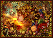 Grape Leaf Digital Art Prints - Spirit of Autumn Print by Ciro Marchetti