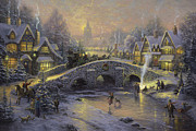 Snow . Bridge Framed Prints - Spirit of Christmas Framed Print by Thomas Kinkade