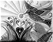 Hummingbird Drawings Metal Prints - Spirit of Joy Metal Print by Barb Cote