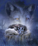 Animal Mixed Media Metal Prints - Spirit Of The Blue Fox Metal Print by Carol Cavalaris
