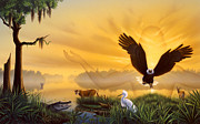 American Eagle Painting Metal Prints - Spirit of the Everglades Metal Print by Jerry LoFaro