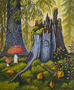 Leaves Painting Originals - Spirit of the forest by Veikko Suikkanen