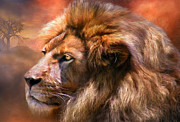 Wildlife Art Mixed Media Posters - Spirit Of The Lion Poster by Carol Cavalaris
