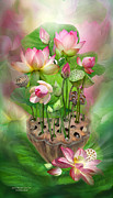 Pink Lotus Framed Prints - Spirit Of The Lotus Framed Print by Carol Cavalaris