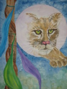 Imaginary Wildlife Art Prints - Spirit of the Mountain Lion Print by Ellen Levinson