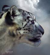Snow Leopard Framed Prints - Spirit Of The Sky Framed Print by Carol Cavalaris