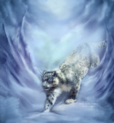 Leopard Mixed Media Posters - Spirit Of The Snow 2 Poster by Carol Cavalaris