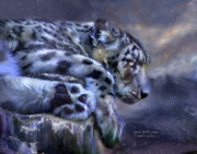 Big Cat Print Mixed Media - Spirit Of The Snow by Carol Cavalaris