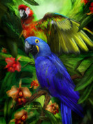 Wildlife Art Mixed Media Framed Prints - Spirit Of The Tropics Framed Print by Carol Cavalaris