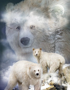 Scene Mixed Media Posters - Spirit Of The White Bears Poster by Carol Cavalaris