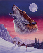 Pack Painting Originals - Spirit of the Wolf by Steve Bridger