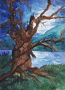 Imagined Landscape  Posters - Spirit Tree Poster by Ellen Levinson