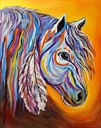 Painted Feathers Paintings - SPIRIT War Horse by Janice Rae Pariza