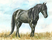 Black Stallion Paintings - Spirit Wild Horse In Sanctuary by Linda L Martin