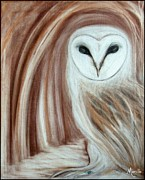 Sepia Chalk Pastels - SpiritOwl by Miracle Morillo