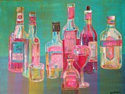Wine Glasses Paintings - Spirits and Wine by Kelli Perk