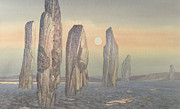 Misty Landscape Posters - Spirits of Callanish Isle of Lewis Poster by Evangeline Dickson