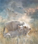 Lions Mixed Media Prints - Spirits Of Innocence Print by Carol Cavalaris