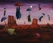 Night Angel Prints - Spirits Of The Flying Umbrellas Print by Leah Saulnier The Painting Maniac