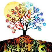 Fantasy Tree Art Print Posters - Spiritual Art - Tree Of Life Poster by Sharon Cummings