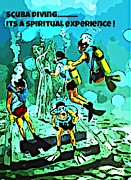 Devotional Art Posters - Spiritual Experience of Scuba Diving Poster by John Malone