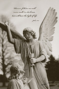 Bible Photo Posters - Spiritual Religious Angel Art With Jesus  Poster by Kathy Fornal