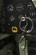 Historic Aviation Prints - Spitfire Cockpit Print by Adam Romanowicz