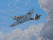 Plane Paintings - Spitfire by Elaine Jones