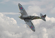 Combat Digital Art Prints - Spitfire - Elegant Icon Print by Pat Speirs