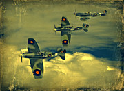 Steven Agius Digital Art Framed Prints - Spitfire Flight Framed Print by Steven Agius