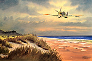 Spitfire Mk9 - Over South Coast England Print by Bill Holkham