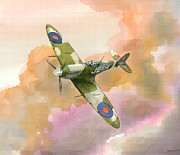 Raf Painting Framed Prints - Spitfire Study Framed Print by Michael Swanson