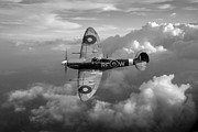 Supermarine Prints - Spitfire Vb black and white version Print by Gary Eason