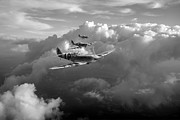 Iconic Design Posters - Spitfires among clouds black and white version Poster by Gary Eason