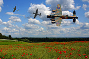 Bomber Escort Photo Posters - Spitfires Lancaster and Poppy field Poster by Ken Brannen