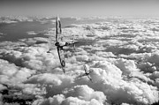 Spitfire Photos - Spitfires turning in black and white version by Gary Eason