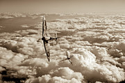 Spitfire Photos - Spitfires turning in sepia version by Gary Eason