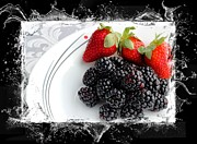 Red And Black Berries Framed Prints - Splash - Fruit - Strawberries and Blackberries Framed Print by Barbara Griffin