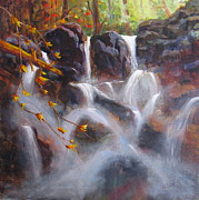 River View Paintings - Splash And Trickle by Mohamed Hirji