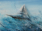 Caribbean Sea Paintings - Splash by Bill Yurcich