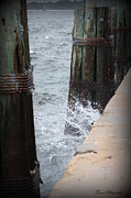 Wood Pylons Photos - Splash by Debra Forand