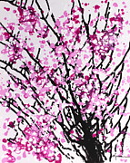 Cherry Blossoms Painting Metal Prints - Splash of Blossoms Metal Print by Kume Bryant
