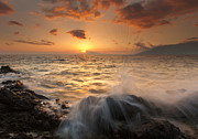 Sunset Seascape Photo Prints - Splash of Paradise Print by Mike  Dawson