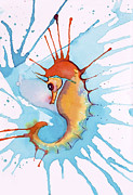 Jane Wilcoxson Art Painting Prints - Splash Seahorse Print by Jane Wilcoxson