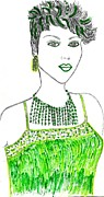 Jewelry Drawings Originals - Splashed in Green by Nicole Burrell