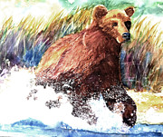 Kodiak Painting Posters - Splashing Bear Poster by Lynne Atwood