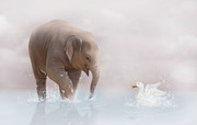 Elephant Digital Art Posters - Splashing is always so much fun   Poster by Lynn Jackson