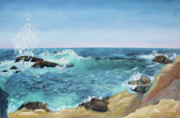 Sonoma County Painting Prints - Splashing Wave  Gerstle Cove Park Print by Asha Carolyn Young