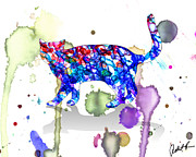 Cat Paw Digital Art Posters - Splashy Cat - Signed Watercolor Print by Robert R Poster by Robert R Abstract Art