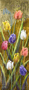Splashy Painting Originals - Splashy Tulips II with Gold Leaf by Vic Mastis by Vic  Mastis